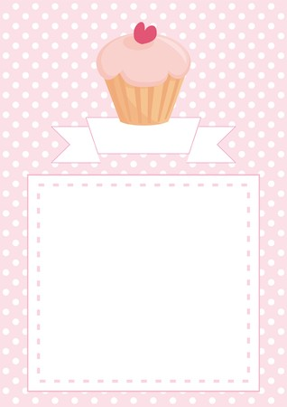 Restaurant vector menu, wedding card, list or baby shower invitation with sweet retro cupcake on pink and white vintage polka dots texture background with white space for your own text message. Vector
