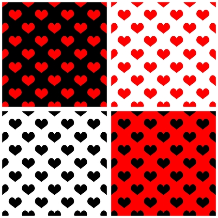 Seamless vector red, black, white background set with hearts. Full of love tile pattern for valentines desktop wallpaper or website design in white, brown and pastel baby pink color Vector