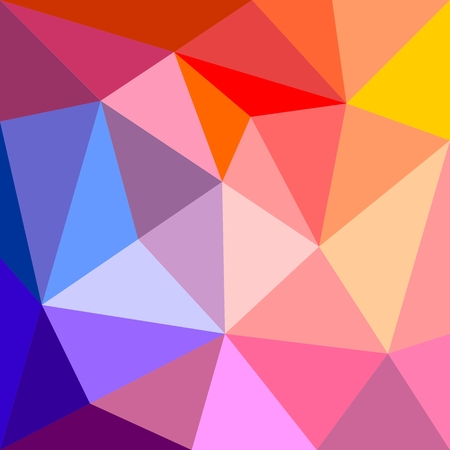 Triangle vector background or seamless yellow, orange,pink, violet, purple and dark navy blue pattern. Flat surface wrapping geometric mosaic for wallpaper or winter website design Vector
