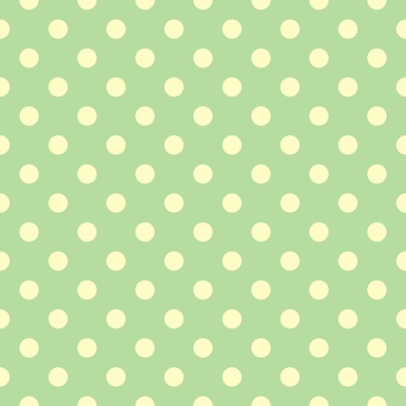 Tile spring or summer vector pattern with pastel yellow polka dots on green background Vector