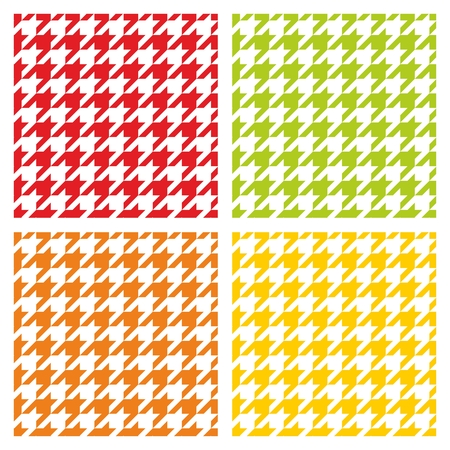 tweed: Houndstooth seamless vector pattern set. Traditional dogtooth tartan tweed collection for colorful website background Illustration