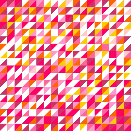 violet red: Tile vector pattern with white, red, yellow, orange, pink and violet triangle mosaic background Illustration
