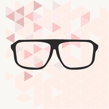 shilouette: Glasses on pink wrapping surface triangle background vector illustration. Illustration