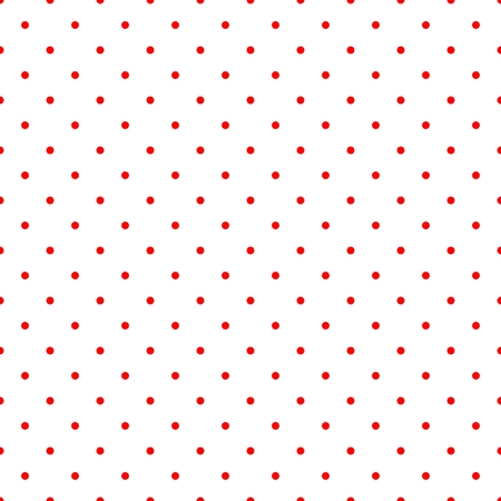 Retro vector tile pattern with small red polka dots on white background for decoration wallpaper