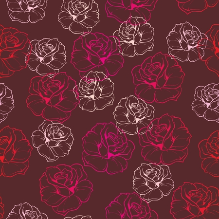 Seamless floral vector pattern with pink, red and white retro roses on dark brown background. Beautiful abstract vintage texture with pink flowers and cute colorful background. Vector