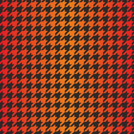Houndstooth seamless dark vector pattern. Traditional Scottish plaid fabric with gradient color for website background or desktop wallpaper in black, red, orange and yellow color. Vector