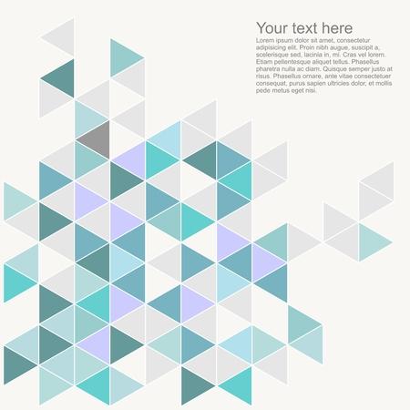 Fondo en colores pastel colorido del vector con el espacio vacío. Gris, azul, verde menta y el triángulo violeta mosaico geométrico plantilla de documento de tarjeta. Diseño de la superficie plana del inconformista azteca del galón del zigzag de impresión Foto de archivo - 32043398
