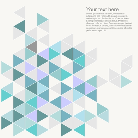 Pastel colorful vector background with empty space. Grey, blue, mint green and violet triangle geometric mosaic card document template. Hipster flat surface design aztec chevron zigzag print
