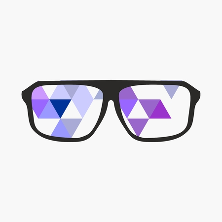 nerd: Nerd glasses on grey background with triangle flat surface mosaic. Teacher, professor, secretary or hipster vector illustration.