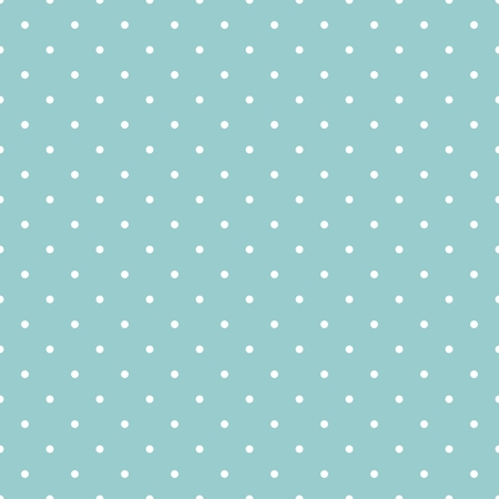 Seamless vector pattern, texture or background with white polka dots on a ocean green or blue background. Ilustração