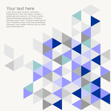 Pastel colorful vector background with empty space. Grey, navy, blue, mint green and violet triangle geometric mosaic card document template. Hipster flat surface design aztec chevron zigzag print