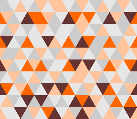 Colorful tile background vector illustration. Grey, orange, pink and chocolate brown triangle geometric mosaic document template or seamless pattern. Hipster flat surface chevron zig zag print design Vector
