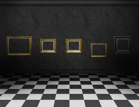 Empty, dark gallery room with black and white checker on the floor and empty frames for paintings or photography, on the dark wall photo