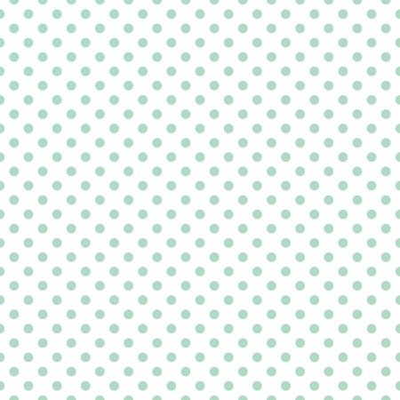 repetition dotted row: Tile cute vector pattern with mint green polka dots on white background