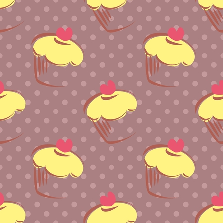 Seamless vector pattern with lemon cupcakes, muffins, sweet cake with pink heart on top and polka dots on violet background with sweets for desktop wallpaper or culinary blog website Vector