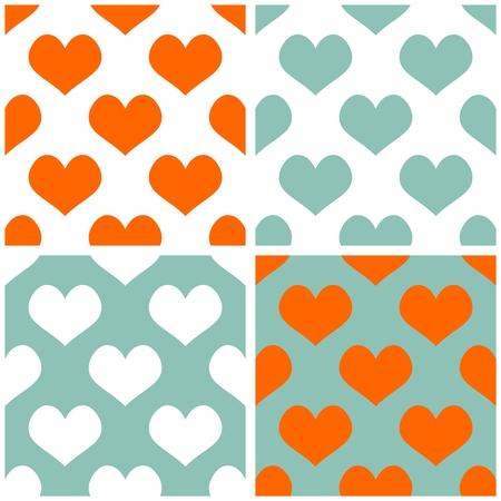 desktop wallpaper: Seamless vector pastel conjunto de fondo de corazones. Lleno de patr�n de mosaico amor para fondo de pantalla de San Valent�n de escritorio o dise�o de sitios web en blanco, naranja y menta pastel de color verde