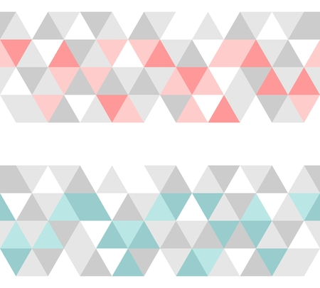 Colorful tile vector background or pattern illustration. Grey, pink and mint green pastel triangle geometric wallpaper Vector