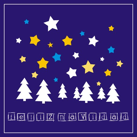 navy blue background: Dark blue Christmas vector card with Merry Christmas wishes. Classic invitation on dark navy blue background with white and golden yellow stars, trees and star of Bethlehem