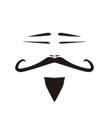 Chinese vector man face with slanted eyes, curly long mustache and beard. Black traditional old Chinaman silhouette illustration isolated on white background. Sign of eastern wisdom and old Chinese culture