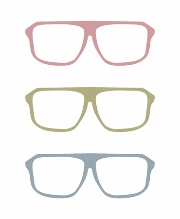 corrective lenses: Colorful vector glasses set with pink, green and blue holder object isolated on white background.