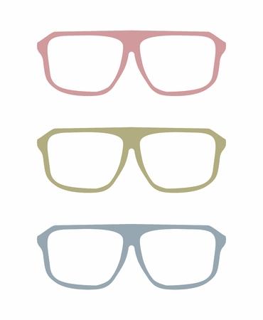 pink green: Gafas de vector conjunto de colores con rosa, verde y azul objeto sostenedor aislado en fondo blanco.