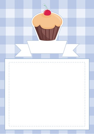 Vector blue restaurant menu card baby shower list wedding invitation with sweet chocolate cupcake on boy blue vintage checkered pattern grid texture background and empty white space for text message Vector