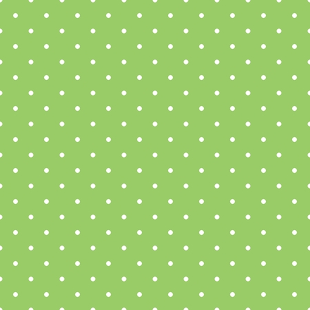 preppy: Seamless spring vector pattern with white polka dots on fresh grass green tile background.