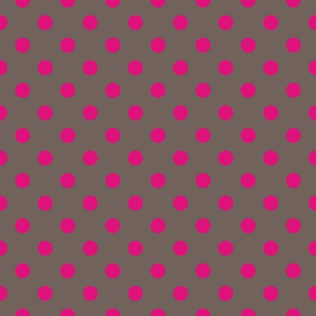 Seamless vector pattern or texture with neon pink polka dots on dark brown background. For cards, invitations, websites, desktop, baby shower card background, party, web design, arts and scrapbooks. Vector