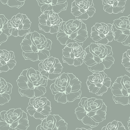 Seamless vector mint green retro floral pattern with white roses on grey blue background. Beautiful abstract vintage texture with flowers and cute background for web design or desktop wallpaper. Illustration