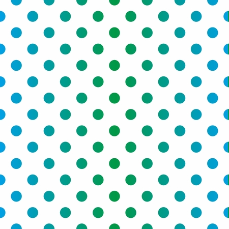 Seamless vector pattern with gradient blue and green polka dots on white background. For website design or desktop wallpaper, kids background. Vector