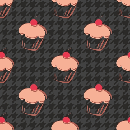 Tile vector background with cherry cupcake and dark grey and black houndstooth pattern Vector