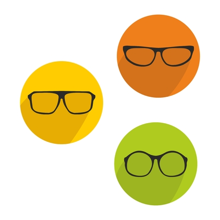 Glasses green, yellow and orange vector icon set isolated on white background Vector