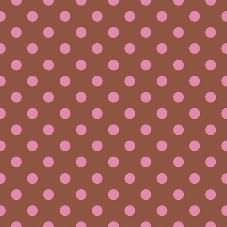 Seamless vector pattern or tile texture with pink polka dots on dark red or brown background. For websites, desktop wallpaper or kids background