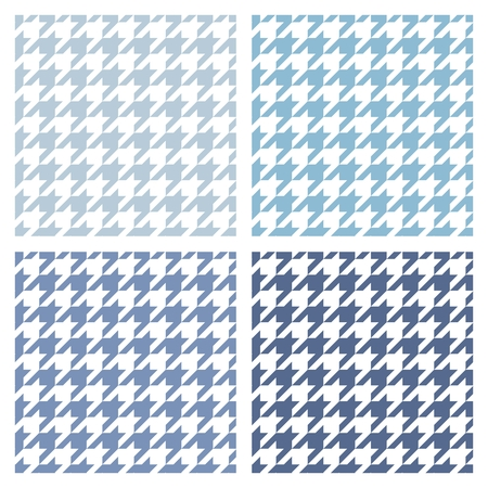 preppy: Houndstooth vector tile blue and white pattern set. Tweed fashion seamless background with retro dark and light tartan woven for desktop wallpaper or website design