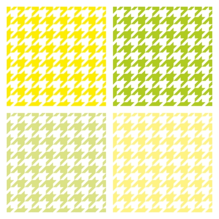 Houndstooth seamless summer vector pattern set. Traditional Scottish plaid fabric collection for colorful spring website background or desktop wallpaper in white, fresh green and sunny yellow color. Vector