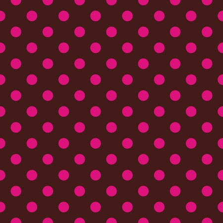 Seamless vector pattern or texture with neon pink polka dots on brown background. For cards, invitations, websites, desktop, baby shower card background, party, web design, arts and scrapbooks. Vector