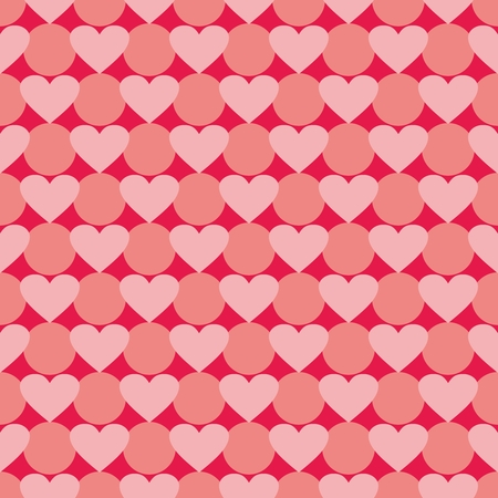 desktop wallpaper: Pink vector background with hearts and polka dots. Cute seamless pattern for valentines desktop wallpaper or lovely website design. Illustration