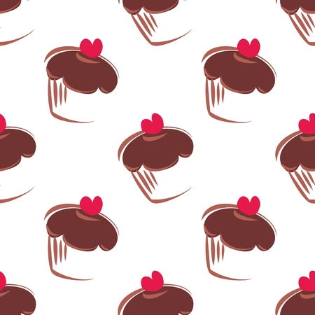 Seamless vector pattern or texture with chocolate cupcakes, muffins, sweet cake and pink heart isolated on white background. Sweets for valentines, wallpaper, desktop or culinary blog website.