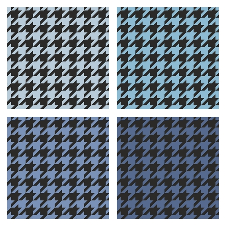 tweed: Houndstooth vector seamless navy blue and black pattern set. Tweed fashion background with retro dark and light tartan woven for desktop wallpaper or website design