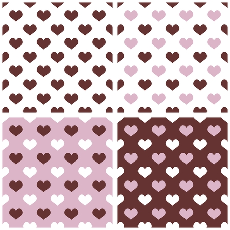 desktop wallpaper: Seamless vector background set with hearts. Full of love tile pattern for valentines desktop wallpaper or website design in white, brown and pastel baby purple pink color