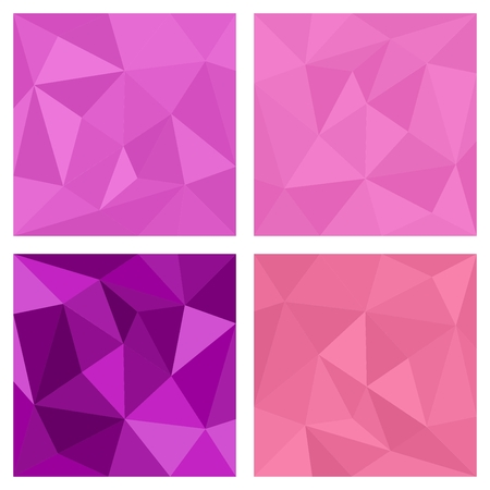 Pink and violet triangle vector background or chevron surface pattern set Vector