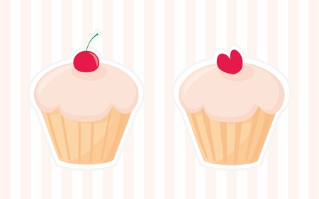 cupcakes isolated: Sweet retro vector cupcakes silhouettes with red cherry and heart on top isolated on pink strip background. I love sweets! Wedding or birthday sweet muffins illustration. Illustration