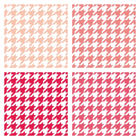 Houndstooth seamless vector pastel pattern set. Traditional Scottish plaid fabric collection for colorful website background or desktop wallpaper in white, pink, red and peach color. Vector