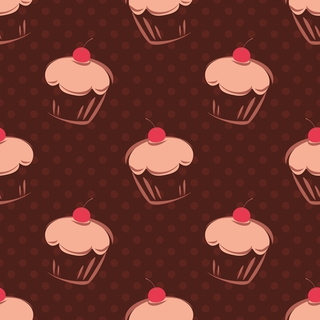 Seamless vector pattern or tile background with cherry cupcakes, muffins, sweet cake and polka dots on chocolate brown background for decoration or wallpaper Vector