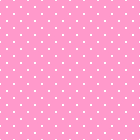 Seamless vector pattern with white polka dots on a tile pastel pink background Çizim