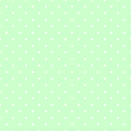 Seamless spring pattern with white polka dots on fresh grass green tile background.
