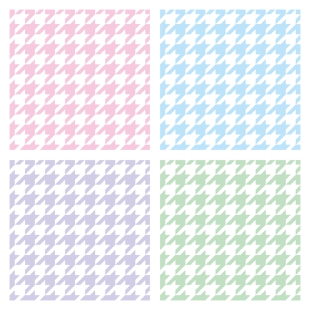 Pastel hounds tooth seamless pink, blue, green, violet and white pattern set Vector