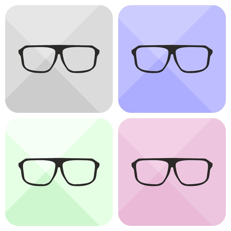 shilouette: Glasses vector set with black thick holder hipster illustration isolated on white background. Medical huge eye glasses shilouette collection. Sign of intelligence, secretary or school teacher