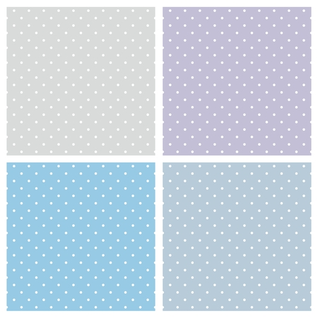 Blue background vector set. Sweet seamless patterns or textures with white polka dots on pastel, colorful background: baby blue, grey and violet Vector