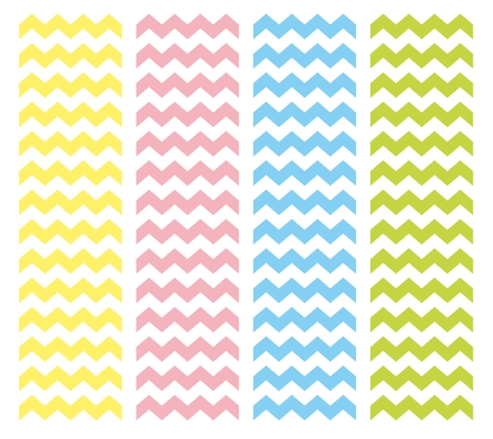 Zig zag chevron vector pattern set. Pastel pink, blue, yellow and green summer background collection Vector